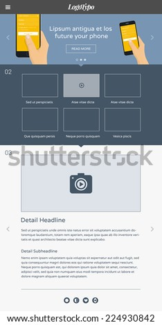 One page responsive website design template based on flat design style with big promo banner with illustration - stock vector