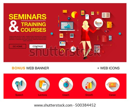 One page technology education flat concepts banner with icons for training and courses with business woman in red dress for finance, consulting, management, human resources, career, staff training
