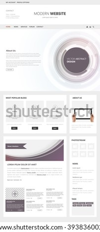One Page Technology Website Template Vector Eps10, Modern Web Design with flat UI elements and abstract header. Ideal for Business layout.  - stock vector