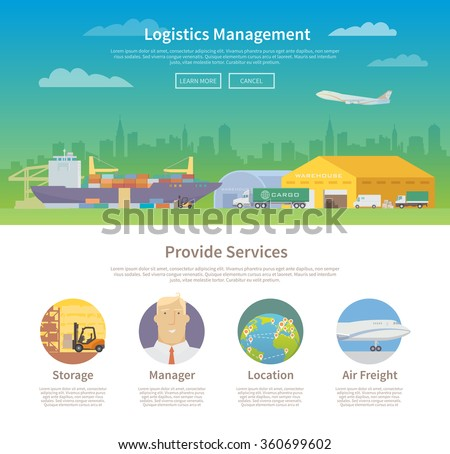 One page web design template on the theme of Logistics, Warehouse, Freight, Cargo Transportation. Storage of goods, Insurance. Modern flat design. - stock vector
