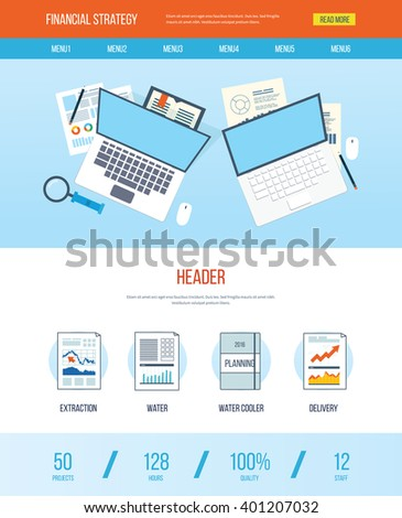 One page web design template with icons of analyzing project, financial strategy and report, financial analytics, market research, teamwork and planning documents - stock vector