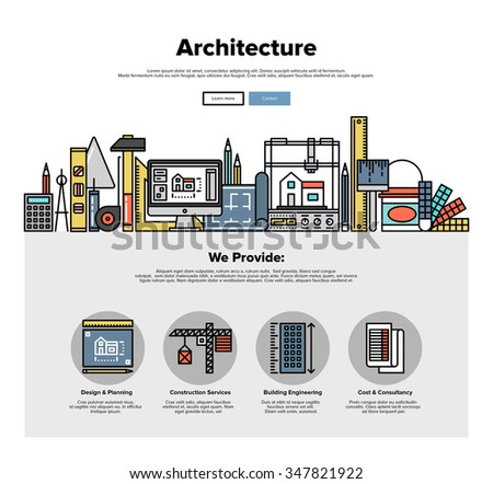 One page web design template with thin line icons of architecture engineering construction, 3D building planning, worker repair tools. Flat design graphic hero image concept, website elements layout. - stock vector