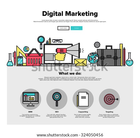 One page web design template with thin line icons of digital marketing advertising, social media campaign promotion, smm data research. Flat design graphic hero image concept, website elements layout. - stock vector