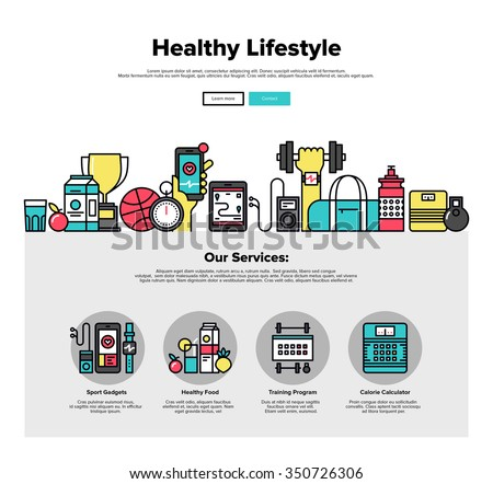 One page web design template with thin line icons of healthy living lifestyle, sports gadgets, healthy food and fitness training program. Flat design graphic hero image concept website elements layout
