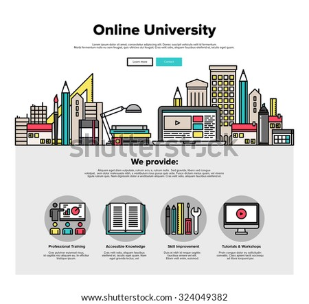One page web design template with thin line icons of internet campus workshop learning, online university space for coworking education. Flat design graphic hero image concept, website elements layout - stock vector