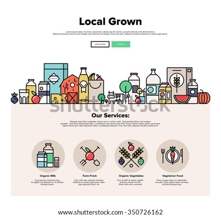 One page web design template with thin line icons of local farm grown vegetables, natural organic food, eco friendly seasonal products. Flat design graphic hero image concept, website elements layout. - stock vector