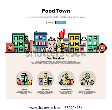 One page web design template with thin line icons of local food stores in a small city, town facade with various groceries and sweets. Flat design graphic hero image concept, website elements layout. - stock vector