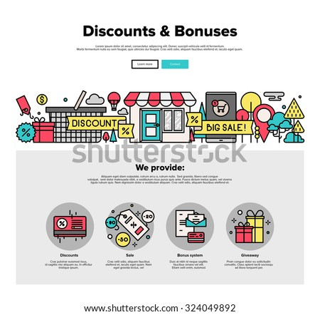 One page web design template with thin line icons of online shopping discount and price bonus system, big sales offer from various store. Flat design graphic hero image concept website elements layout - stock vector