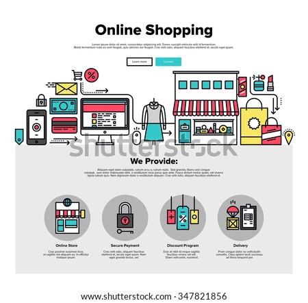 One page web design template with thin line icons of shopping online process, internet merchant marketplace, customer order delivery. Flat design graphic hero image concept, website elements layout. - stock vector