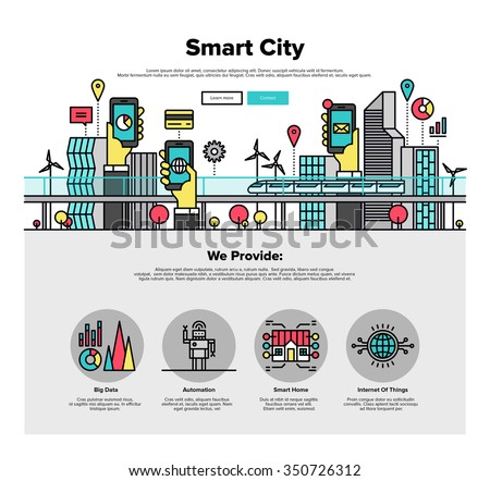 One page web design template with thin line icons of smart city and internet of things and everything, future technology for living. Flat design graphic hero image concept, website elements layout. - stock vector