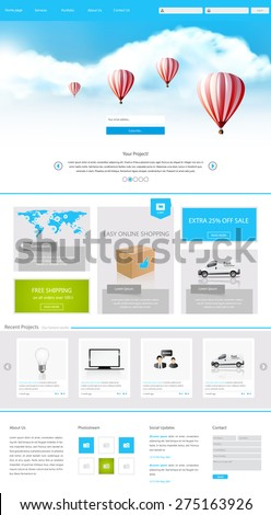 One Page Website Design for Your Business with hot air balloons realistic illustration.  - stock vector