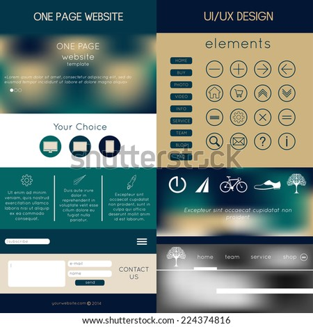 one page website design. icons, buttons and backgrounds templates in one set  - stock vector