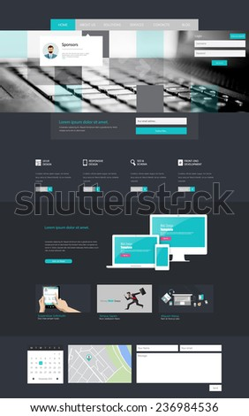 One page website design template - stock vector