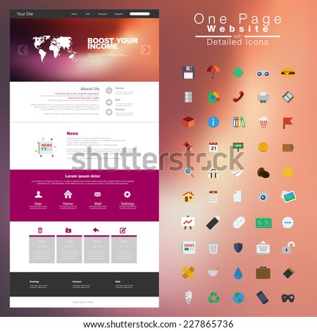 One page website design template. All in one set for website design - stock vector