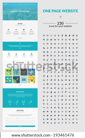 One page website design template. All in one set for website design that includes one page website templates, set of 230 business icons for web design, and flat design concept illustrations. - stock vector