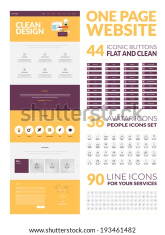 One page website design template. All in one set for website design that includes one page website templates, set of 90 line icons, set of 36 avatar iconic and set of 44 iconic buttons. - stock vector