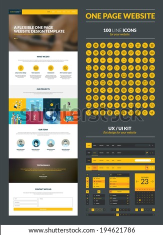 One page website design template. All in one set for website design that includes one page website templates, set of 100 line icons, ux/ui kit for website design, and flat design illustrations.     - stock vector