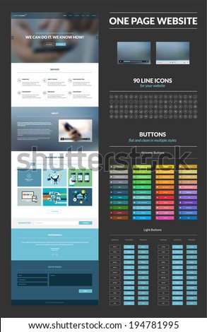 One Page Website Design Template All Stock Vector 194781995 ...
