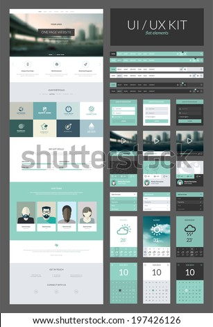 One page website design template. All in one set for website design that includes one page website templates and ux/ui kit for website design.     - stock vector