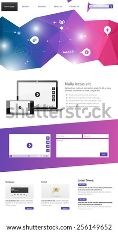 One page website design template. All in one set for website design that includes one page website templates, - stock vector