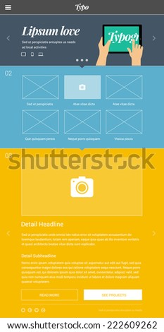 One page website design template based on golden ratio & flat design style with big promo banner area and flat design illustration - stock vector