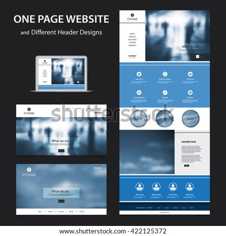 One Page Website Design Template for Your Business with Blurred Backgrounds - stock vector