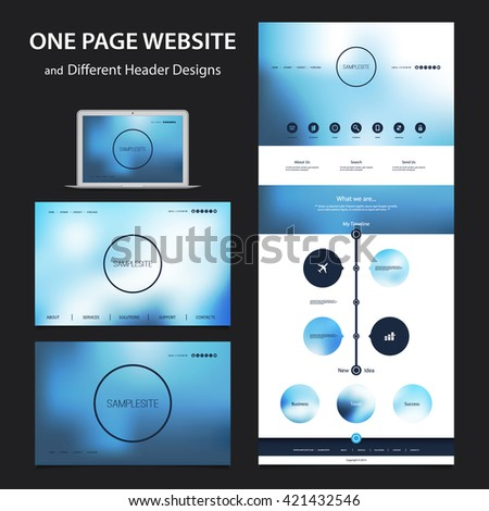 One Page Website Design Template for Your Business with Different Blurred Header Designs - stock vector