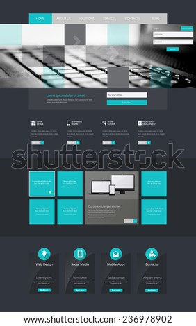 One page website design template, Vector Eps10 - stock vector