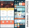 One Page Website Design Template with UI Elements kit, Flat Design Concept Icons and Blurred Smooth Backgrounds. Mobile Phones and Tablet PC Designs. Set of Forms and Buttons. Vector.  - stock vector