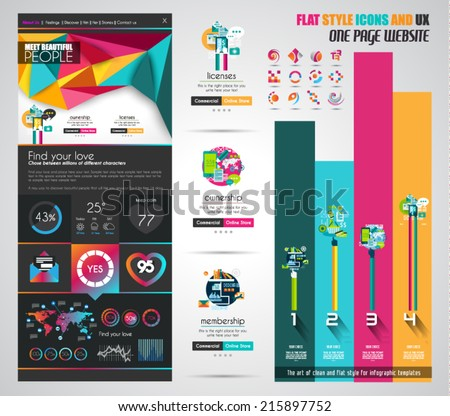 One page website flat UI design template. It include a lot of flat stlyle icons, forms, header, footeer, menu, banner and spaces for pictures and icons all in one page. - stock vector