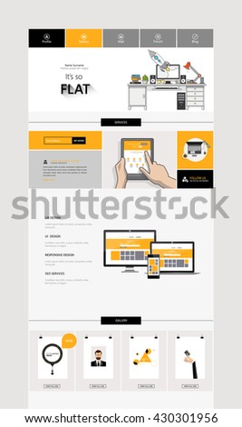 One Page Website Template Design.  - stock vector