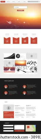 One Page Website Template Vector Eps10, Modern Web Design with flat UI elements and  sunset header illustration. Ideal for Business layout.