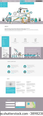 One Page Website Template Vector Eps10, Modern Web Design with flat UI elements and  workplace illustration. Ideal for Business layout.  - stock vector