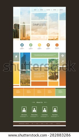 One Page Website Template with Blurred Background - Mosaics - stock vector