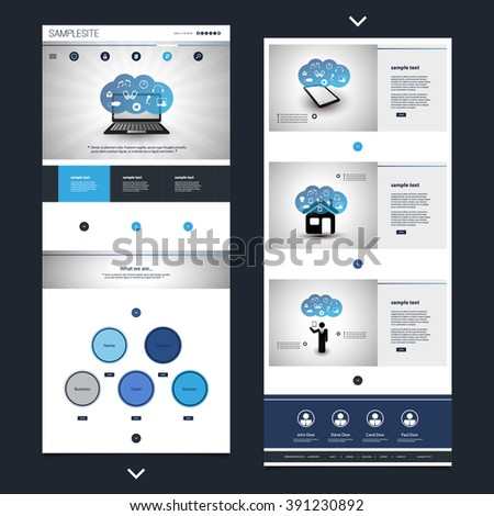 One Page Website Template with Cloud Computing Header Design - stock vector