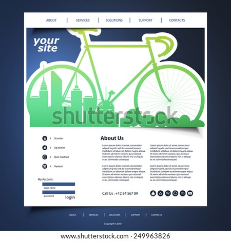One Page Website Template with Eco Header Background Design - stock vector