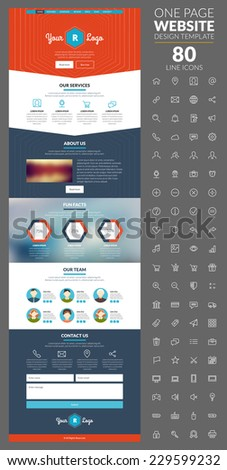 One page website template with icon set. For design studio - stock vector