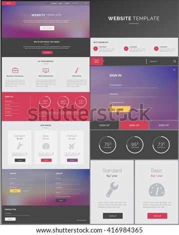 One Page Website Template Purple Grey Stock Vector - Single page landing page template