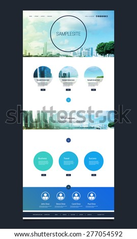 One Page Website Template with Singapore Skyline Header Design - stock vector