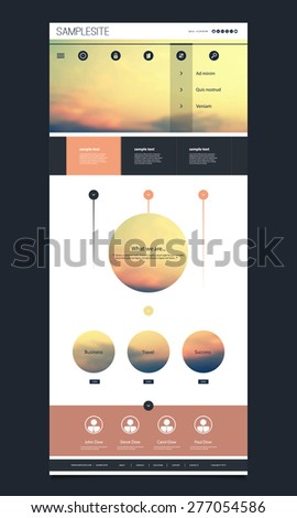 One Page Website Template with Sunset Image on the Header Design - stock vector