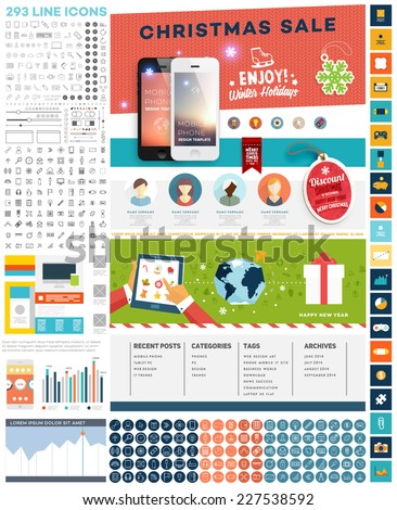 One Page Website Template with UI Elements kit and Flat Design Concept Icons. Mobile Phones and Christmas Decorations. Set of Forms, Dividers, Borders and Buttons. Business Style. 300+ Line Icons - stock vector