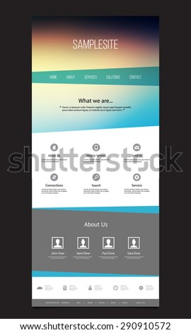 One Page Website Template with Unique Design - stock vector