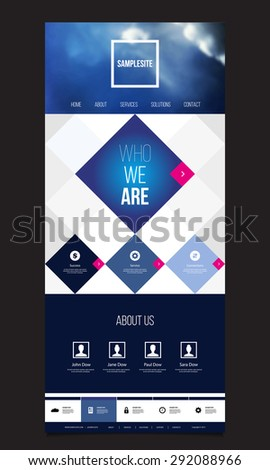 One Page Website Template with Unique Mosaic Design - stock vector