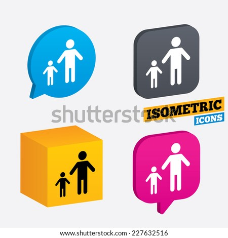 One-parent family with one child sign icon. Father with son symbol. Isometric speech bubbles and cube. Rotated icons with edges. Vector - stock vector