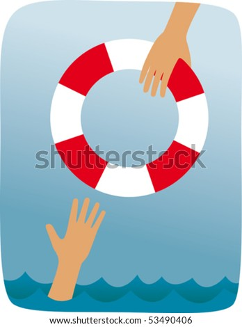 One person helping another. - stock vector
