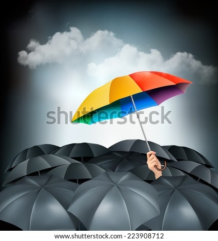 One rainbow umbrella standing out on a grey background. Unique concept. Vector. - stock vector