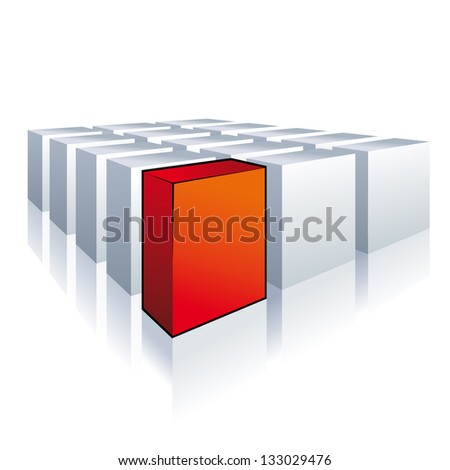 One red box with white boxes