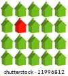 one red house among many green - being different - vector - stock vector