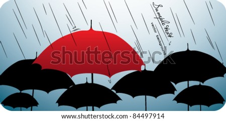 One red umbrella on top of many black umbrellas - stock vector