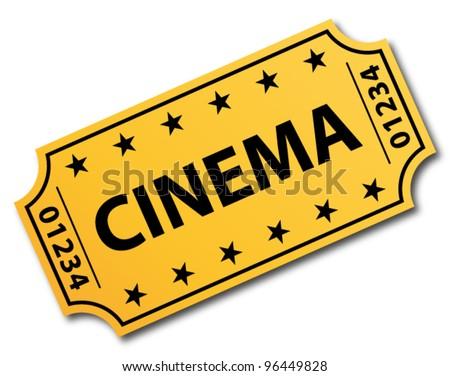 One single cinema ticket. Vector icon. - stock vector